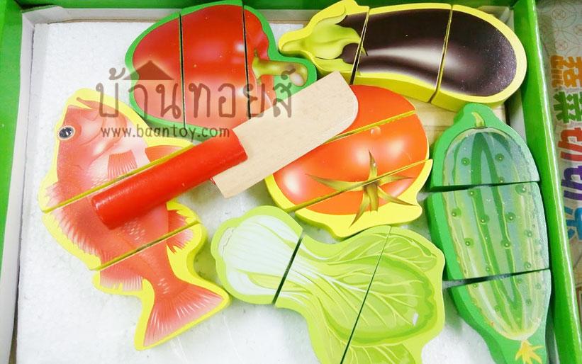 ของเล่นไม้ชุดหั่นผักและปลา สำหรับน้องๆ เล่นบทบาทสมมุติ