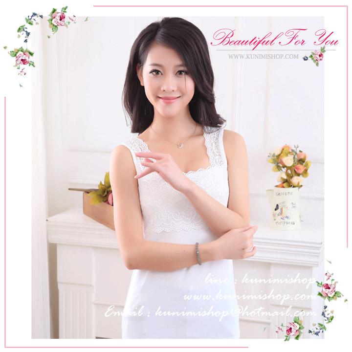 เสื้อกล้าม เสื้อซับใน ช่วงไหล่จนถึงหน้าอก ประดับด้วยผ้าลูกไม้ สวยหวาน น่ารักมากคะ จะใส่เดี่ยวๆหรือจะนำเสื้อนอกมาใส่ทับ ก็ดูดีคะ รอบอกไม่เกิน 35 นิ้ว / เสื้อยาว 55 cm. มี 2 สี ขาว , ดำ