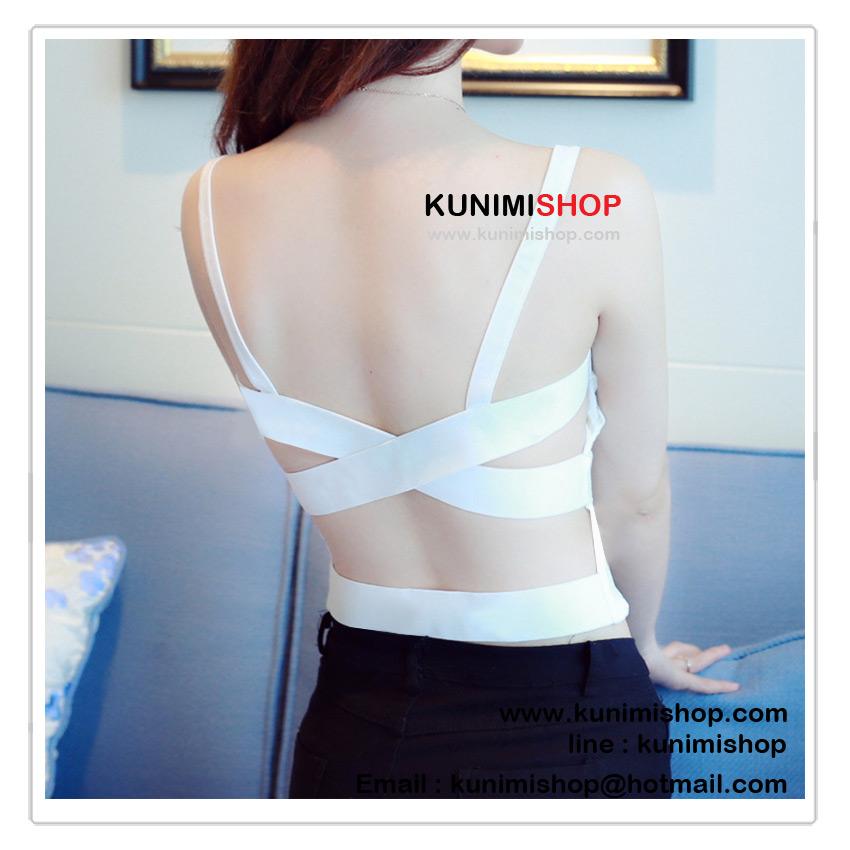เสื้อกล้าม เสื้อซับใน สายเดี่ยวหนา มีฟองน้ำซับใน ด้านหน้าดีไซด์ สายยางยืด สวยเก๋ รอบอกไม่เกิน 35 นิ้ว / มี 2 สี ขาว , ดำ