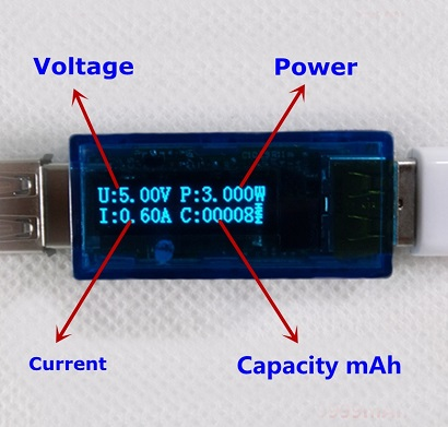 OLED USB Detector Voltmeter Current Meter Power Capacity Tester Blue White LED
