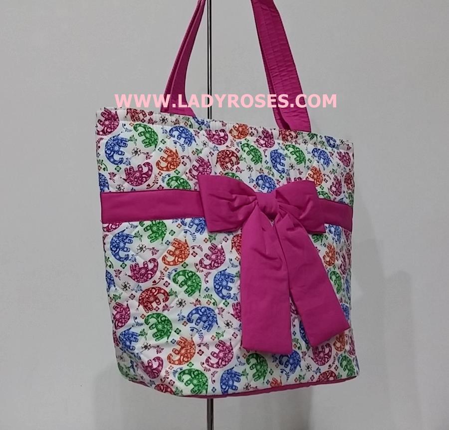กระเป๋าสะพาย นารายา ผ้าคอตตอน พื้นสีขาว ลายช้าง ผูกโบว์ (กระเป๋านารายา กระเป๋าผ้า NaRaYa กระเป๋าแฟชั่น)