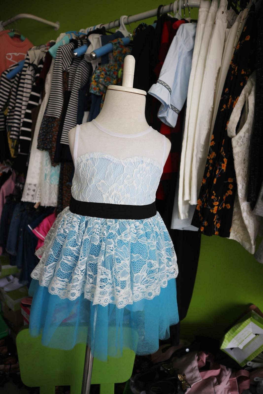 เสื้อผ้าเด็กสไตล์คุณหนู ชุดราตรีเด็ก ชุดออกงานเด็ก Phelfish สีฟ้า