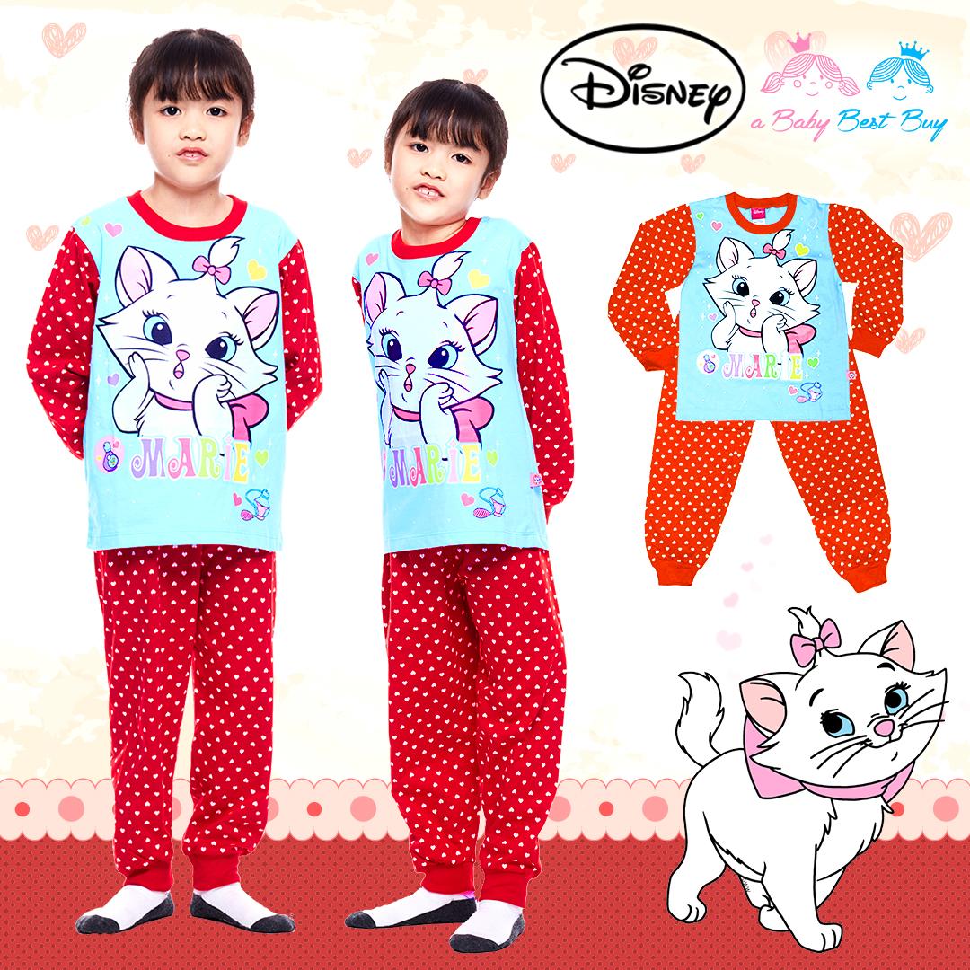 ( S-M-L-XL ) ชุดนอน Disney Marie เสื้อแขนยาวสีฟ้า กางเกงขายาวสีแดงสุดน่ารัก ดิสนีย์แท้ ลิขสิทธิ์แท้(สำหรับเด็กอายุ 4-10 ปี)