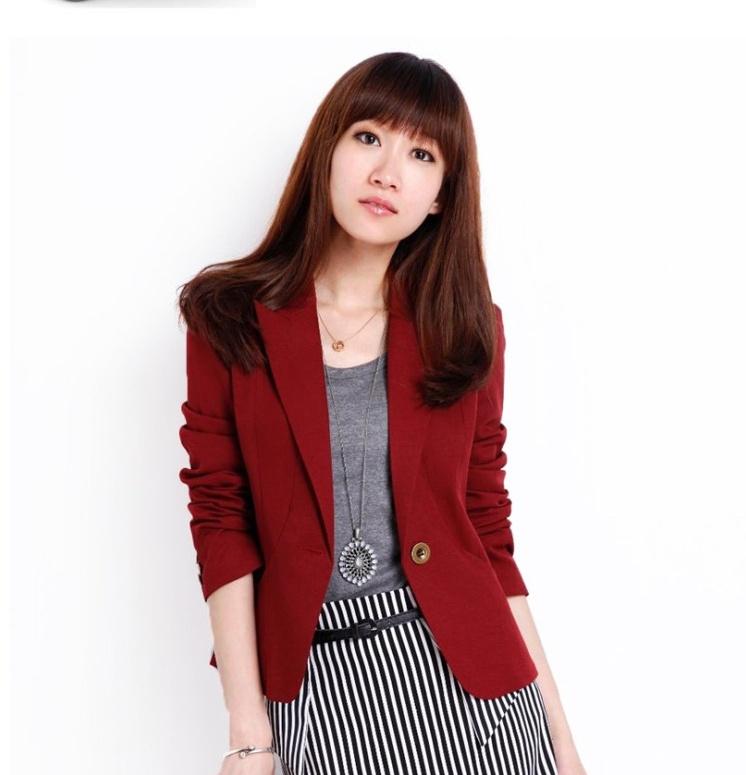 พรีออเดอร์ เสื้อสูทผู้หญิง เสื้อสูทสั้น แขนยาว คอวี ปกสูท สีแดง