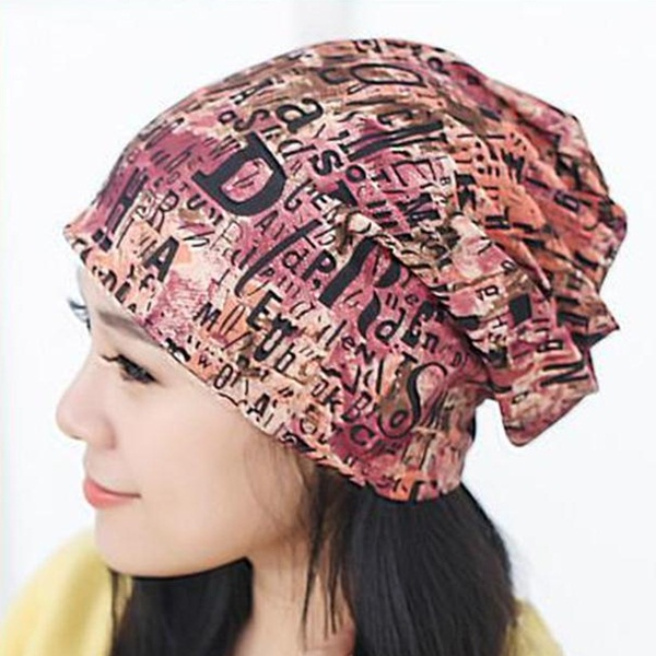 (Pre-order) หมวกไหมพรม หมวกคลุมผม แบบ 3 in 1 เป็นหมวกกันหนาว เป็นหมวกคลุมผม เป็นผ้าพันคอ ผ้าฝ้ายพิมพ์ลายกราฟฟิก สีโทนส้ม-แดง