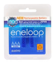 ZFB056 ถ่านชาร์จ Sanyo Eneloop Size AA ชาร์จได้ 1800ครั้ง จำนวน 2 ก้อน ของแท้ Made In Japan สำเนา
