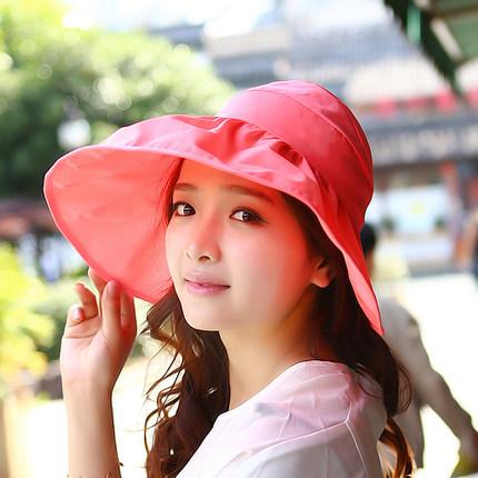 Pre-order หมวกแฟชั่น หมวกใบกว้าง หมวกฤดูร้อน กันแดด ผ้าโพลีเอสเตอร์ สีแดงแตงโม
