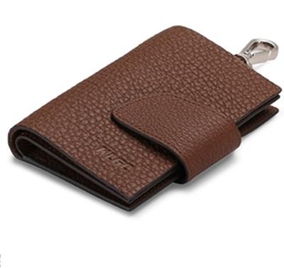 พรีออเดอร์ กระเป๋าพวงกุญแจ หนังแท้ เวอร์ชั่นเกาหลี สีน้ำตาลแดง