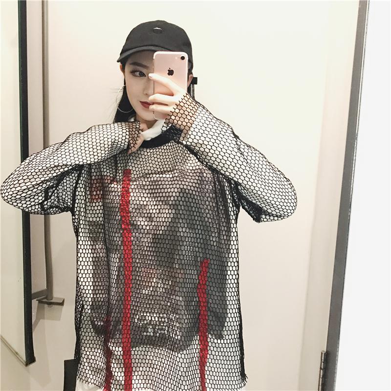 [พร้อมส่ง] เสื้อตาข่ายแขนยาวคอกลมไว้ใส่คู่กับชุดอื่น