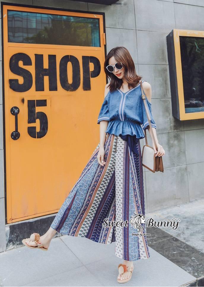 ชุดเซทแฟชั่น ชุดเซ็ทเสื้อ+กางเกงเกาหลี เสื้อเนื้อผ้าย่นๆ สีน้ำเงิน