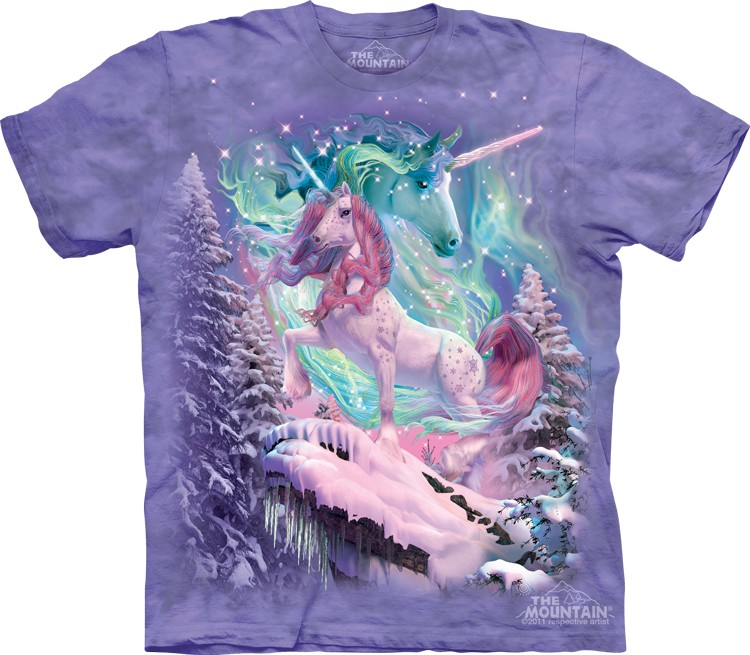 Pre.เสื้อยืดพิมพ์ลาย3D The Mountain T-shirt : Aurora Unicorn