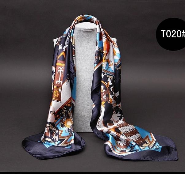 ผ้าพันคอ/ผ้าคลุมไหล่ผ้าไหมผ้าซาติน ขนาดใหญ่ 90 * 90CM