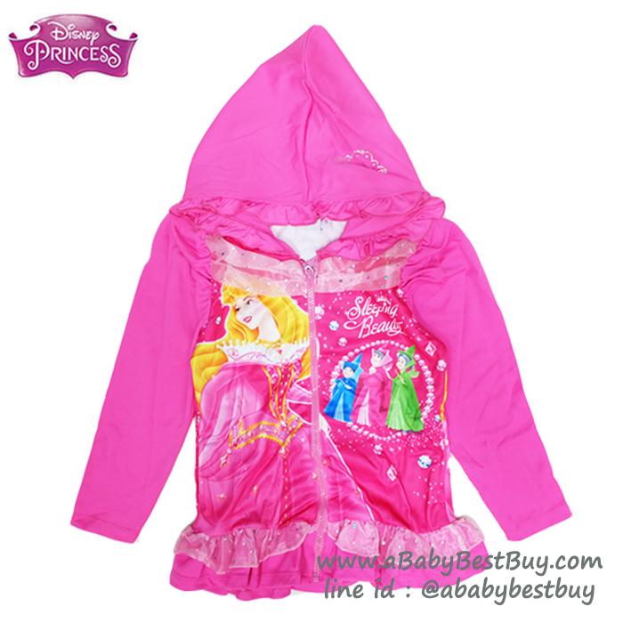 """"""" S-M-L-XL"""" Jacket Disney Sleeping Beauty เสื้อแจ็คเก็ต เสื้อกันหนาวแขนยาว เด็กผู้หญิง สกรีนลายเจ้าหญิงออโรร่า สีชมพู รูดซิป มีหมวก(ฮู้ด)ใส่คลุมกันหนาว กันแดด ใส่สบาย ดิสนีย์แท้ ลิขสิทธิ์แท้"""