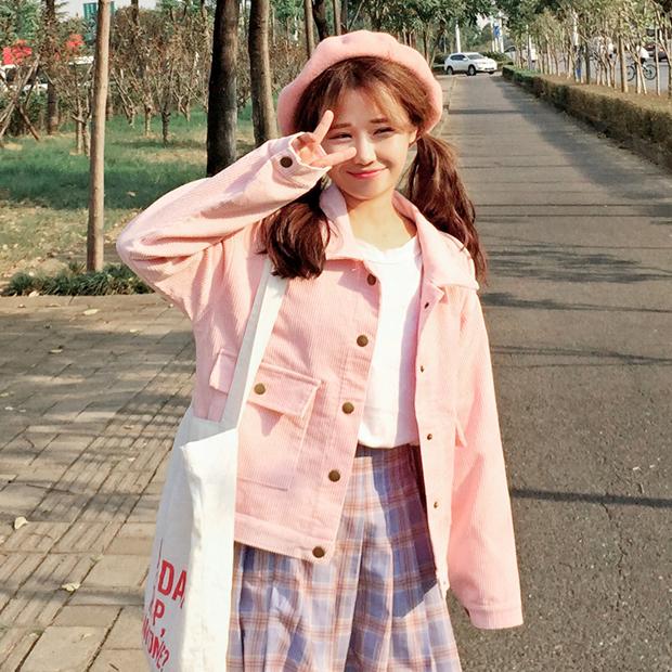 [พร้อมส่ง] เสื้อแจ็คเก็ตน่ารักสไตล์เกาหลี มีสีชมพู/เทา/กากี/เขียว