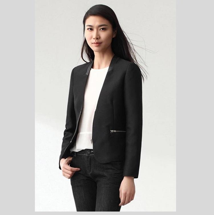 Pre-order เสื้อสูทผู้หญิง สินค้าระดับ Luxury ผ้าโพลีเอสเตอร์เนื้อดี เสื้อผ้าแฟชั่นสไตล์เกาหลี แขนยาว สีดำ