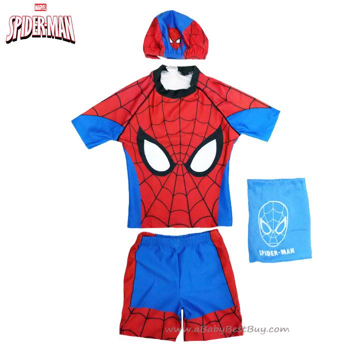 ฮ Size XS - ชุดว่ายน้ำเด็กผู้ชาย Spiderman สีน้ำเงินแดง เสื้อแขนสั้น กางเกงขาสั้น สกรีนลายเกราะ Spiderman มาพร้อมหมวกว่ายน้ำ สุดเท่ห์ ใส่สบาย ลิขสิทธิ์แท้ (สำหรับเด็กอายุ 1-3 ปี)