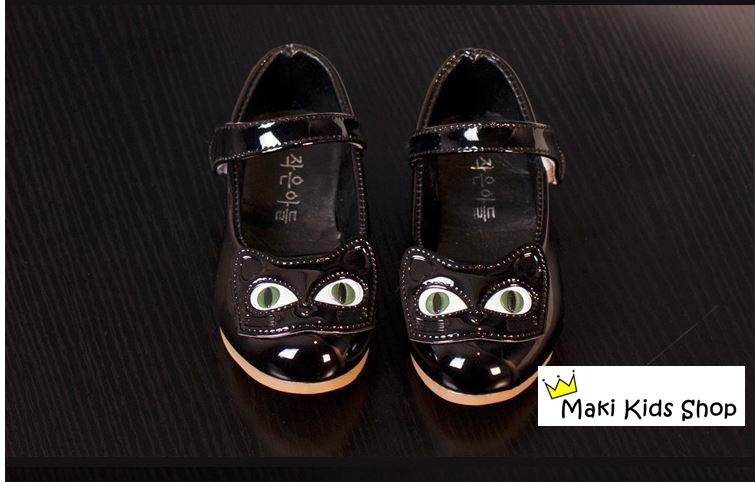 รองเท้าเด็กผู้หญิงคัทชูสีดำหน้าแมว