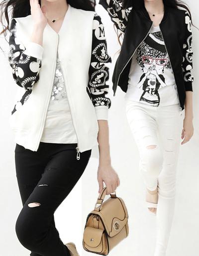 เสื้อคลุมแฟชั่นสีขาว แขนแต่งลาย ใส่คลุมกันหนาวก็ได้ กันแดดก็ดี แบบสวย ไซส์ M