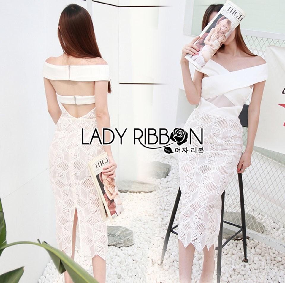 เดรสทรงบอดี้คอนเปิดไหล่ผ้าลูกไม้ ลุคนี้ใส่แล้วดูสมาร์ทสวยงามมากค่ะ เหมาะกับใส่ไปทำงานเก๋ๆได้เลย Lady Ribbon's Made
