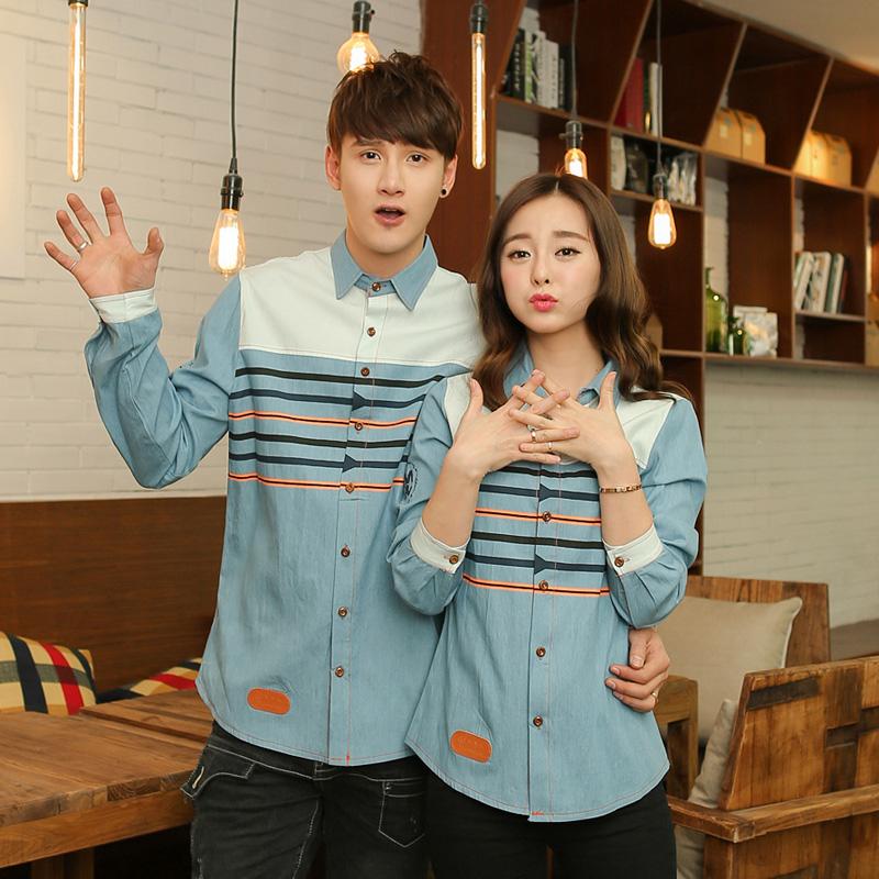 Pre Order เสื้อเชิ้ตยีนส์คู่รักแฟชั่นเกาหลี แขนยาวคอปก แต่งลายคาดหน้าอก สีตามรูป
