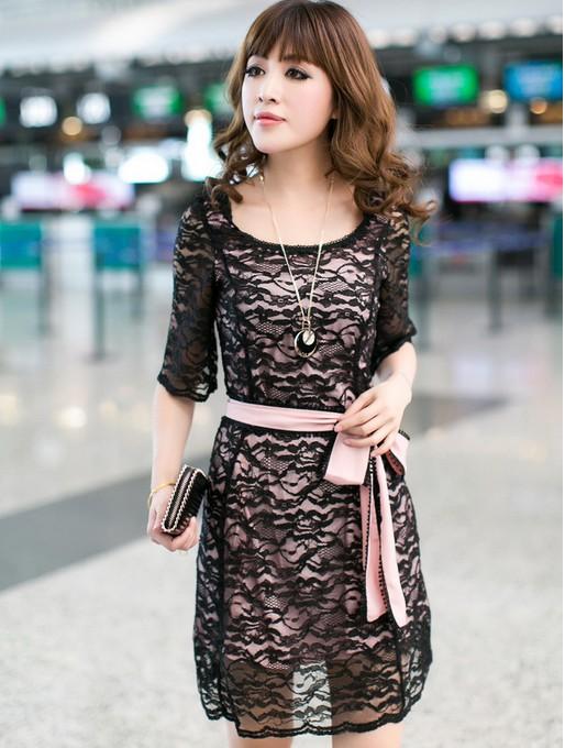 ++เสื้อผ้าไซส์ใหญ่++ Mentimisi *พร้อมส่ง* ชุดเดรสเกาหลีไซส์ใหญ่แขนสามส่วนผ้าลูกไม้สีดำบุซับในสีชมพูมีริบบิ้นสีชมพูผูกเอวสวยเก๋ค่ะ (3XL)