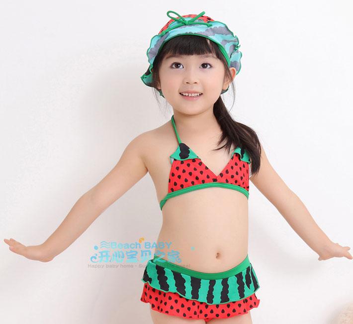 SD2103 ชุดว่ายน้ำเด็ก ทูพีช เซ็ท 3ชิ้น ลายแตงโม น่ารัก [พร้อมส่ง]