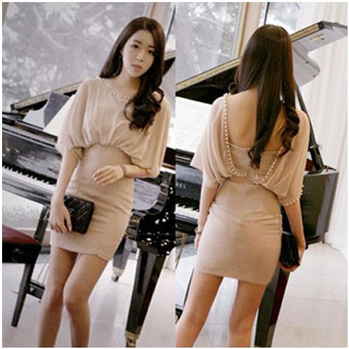 God is Girl ++สินค้าพร้อมส่งค่ะ++ ชุดเดรสเกาหลี คอปาด ผ้าชีฟอง แต่งลูกปัดมุกรอบคอ แขนสไตล์ผีเสื้อ สม็อกหลัง ชุดแสนหวาน – สีชมพู Nude