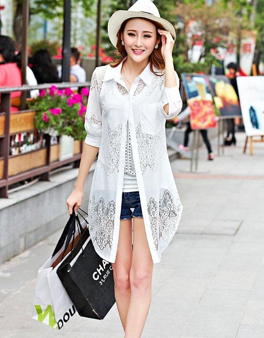 PreOrderคนอ้วน - เสื้อแฟชั่นเกาหลี คนอ้วน ไซส์ใหญ่ เสื้อเชิ้ตตัวยาว ผ้าฝ้ายโพลิเอสเตอร์ ฉลุลายผ้าสวยเก๋ สี : ขาว / ดำ
