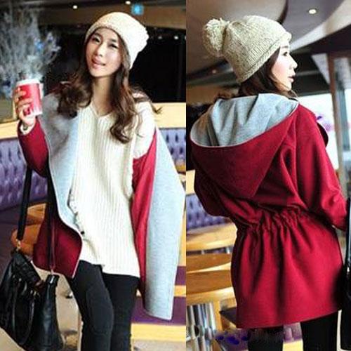 ++สินค้าพร้อมส่งค่ะ++ เสื้อ Coat เกาหลี แขนยาว มี hood เนื้อผ้าดีมาก แต่งกระเป๋าใหญ่สองข้าง ซับในด้านในอย่างดี – สีแดง