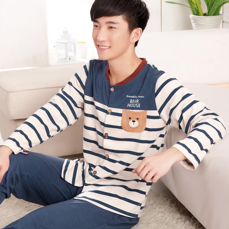 ชุดนอนเกาหลี สีขาว/น้ำเงิน ติดกระดุม Teddy ลายStrip เสื้อแขนยาว+กางเกงขายาว