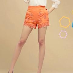 ++เสื้อผ้าไซส์ใหญ่++Qian Fei Mei* Pre-Order* กางเกงแฟชั่นไซส์ใหญ่แต่งผ้าลูกไม้ปลายกางเกงและด้านหน้ามีกระเป๋าหลัง 2 ข้างสวยจ้า