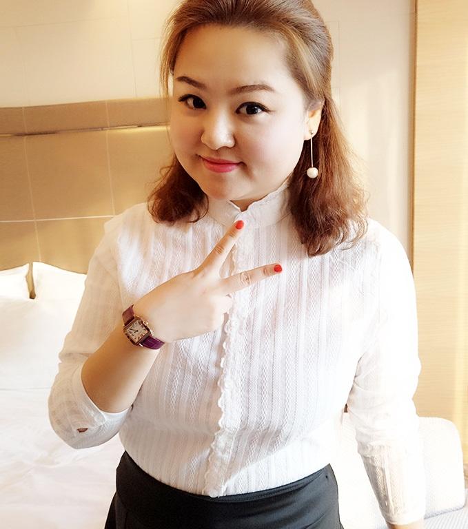 PreOrderคนอ้วน - เสื้อเชิ้ตแฟชั่นเกาหลี ผ้าฝ้ายสีขาว แขนยาว แบบ : ผ้าธรรมดา / ผ้ากำมะหยี่ด้านในอุ่น