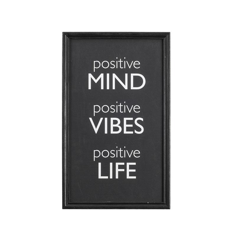 """Wood Framed """"Positive Mind, Positive Vibes, Positive Life"""" Wall Décor"""