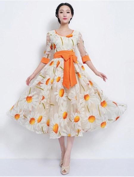 ชุดเดรส Brand Luomeidisha ชุดเดรสยาว ผ้า Organsa (ผ้าไหมแก้วเนื้อบาง) ลายดอกทานตะวัน สวยมากๆครับ (พร้อมส่ง)