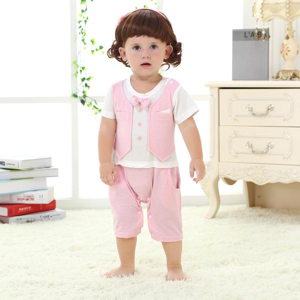 เสื้อผ้าเด็กทารก เพศหญิง 0-1-2 ปี ราคาส่งจากโรงงาน ชุด Coverall Romper เสื้อแขนสั้น รหัส Q1316 สีชมพูลาย 1 ชุด ไซร์ 100 (ส่วนสูง 80-90 cm )