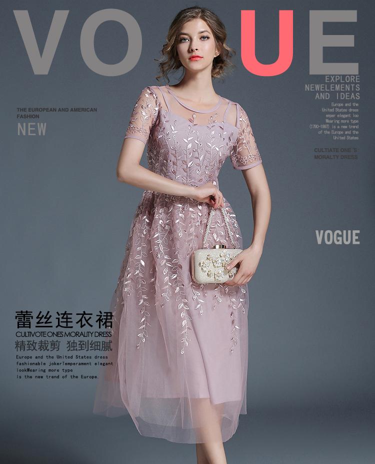 ชุดเดรสยาว ผ้าโปร่งสีชมพูตุ่น ปักด้วยด้ายสีเดียวกัน ลายใบไม้ทั้งชุด สวยมากๆ