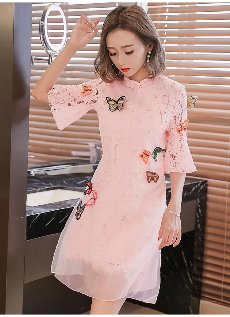 ชุดเดรสลูกไม้ ผ้าเนื้อดี ยืดหยุ่นได้สีชมพู คอจีน แขนยาวสี่ส่วน