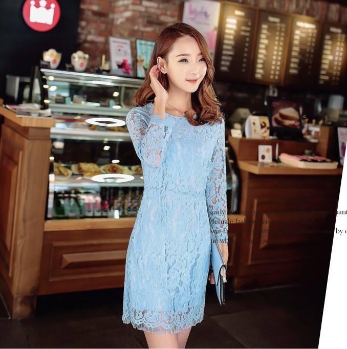 ชุดเดรสเกาหลี ผ้าลูกไม้ เนื้อดี แขนยาว สีฟ้า