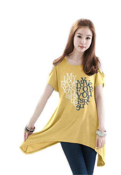เสื้อยืดแฟชั่น ตัวยาว /แซกสั้น เปิดไหล่ ผ้านุ่ม งานคุณภาพ ลาย True Love สีเหลือง