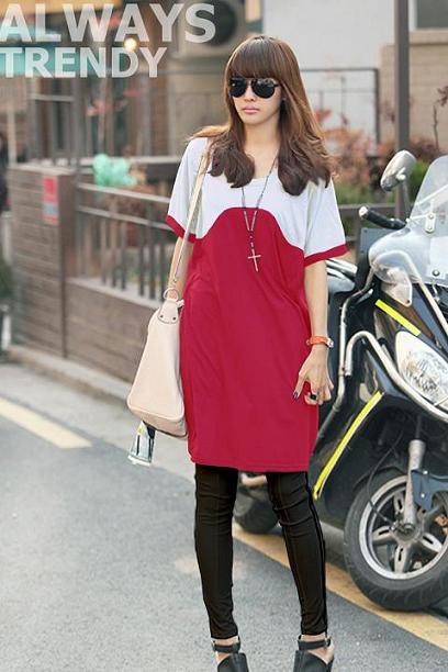 เสื้อยืดแฟชั่นตัวยาว ลายสองสี สี ขาว- ชมพูบานเย็น