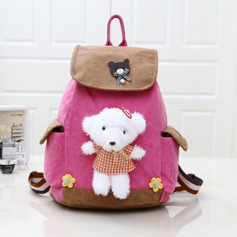 Pre-order กระเป๋าเป้ผ้าสะพายหลังนักเรียนแฟชั่นเกาหลี แต่งตุ๊กตาหมีน่ารักจุง รหัส KO-635 สีชมพูเข้ม