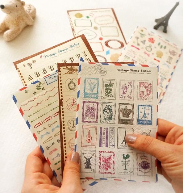สติ๊กเกอร์ชุด : Vintage stamp sticker