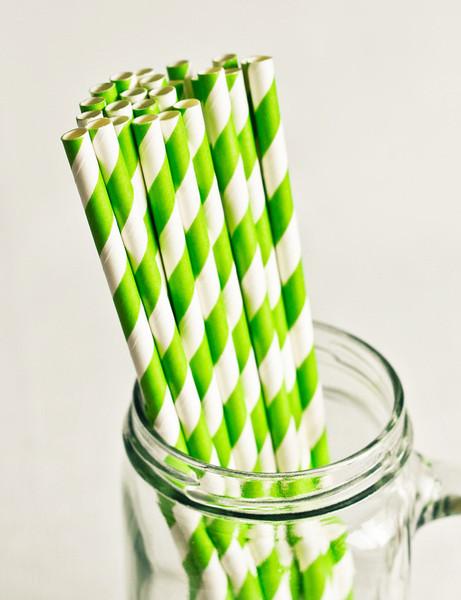 Paper Straws in Bright Green & White Stripes