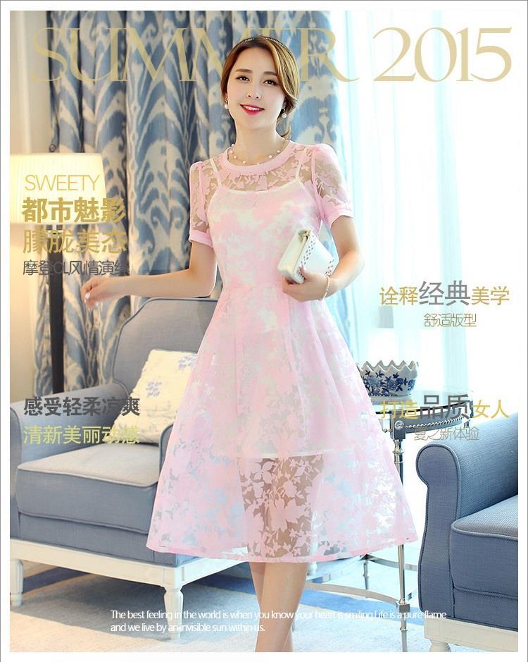 ชุดเดรสสวยๆ ผ้าไหมแก้ว organza เนื้อผ้าเงาวิ้ง ลายใบไม้สีชมพู สวยมากๆ