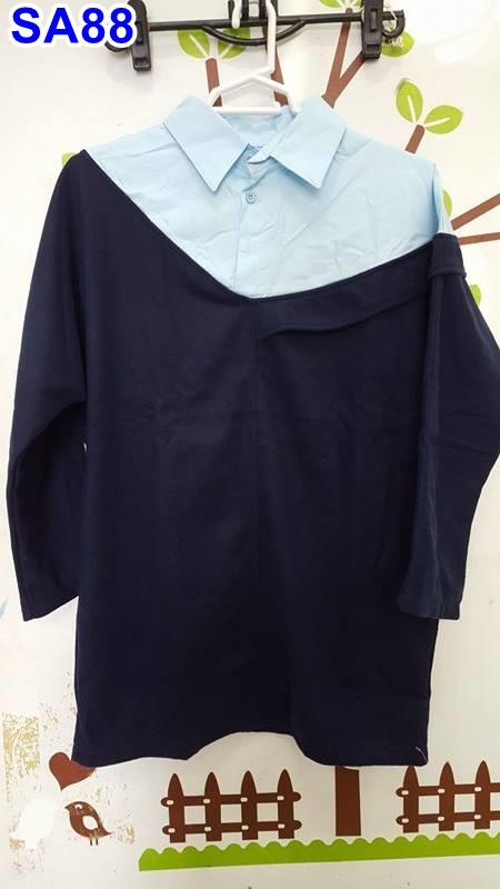 #เสื้อคลุมท้องผ้าลูกฟูกคอปกแขนยาว สีฟ้าเย็บติดสีน้ำเงินเข้ม มีกระเป๋า2ข้างผ้านุ่มเหมาะใส่กันหนาวจร้า