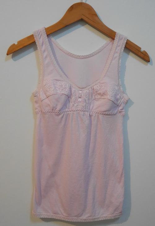 jp3580 เสื้อกล้ามซับใน ผ้ายืดหยุ่น สีชมพูอ่อน รอบอก 28-30 นิ้ว