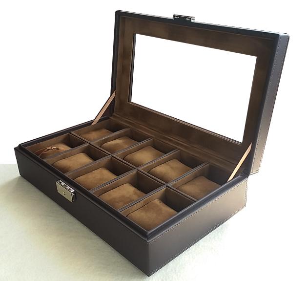 กล่องใส่นาฬิกา 'ล็อกได้'งานเกรดพรีเมี่ยม ระดับห้าง งานหนังบุดด้วยผ้ากำมะหยี่เนื้อนุ่ม