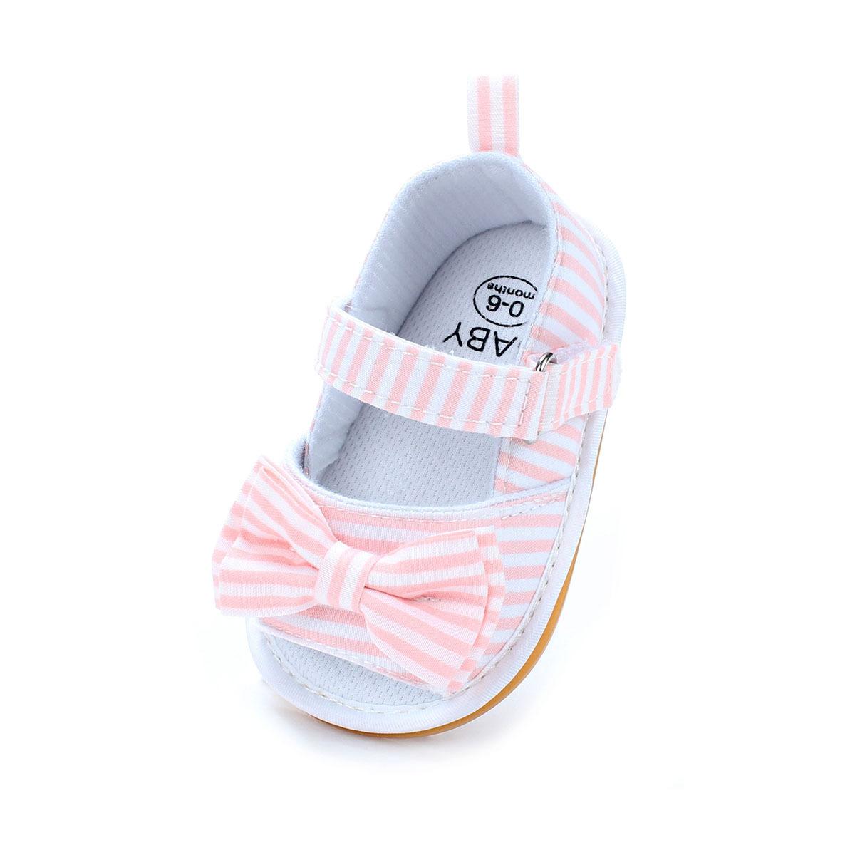 รองเท้าเด็กอ่อน 0-12เดือน สีชมพูลายขาว ติดโบว์