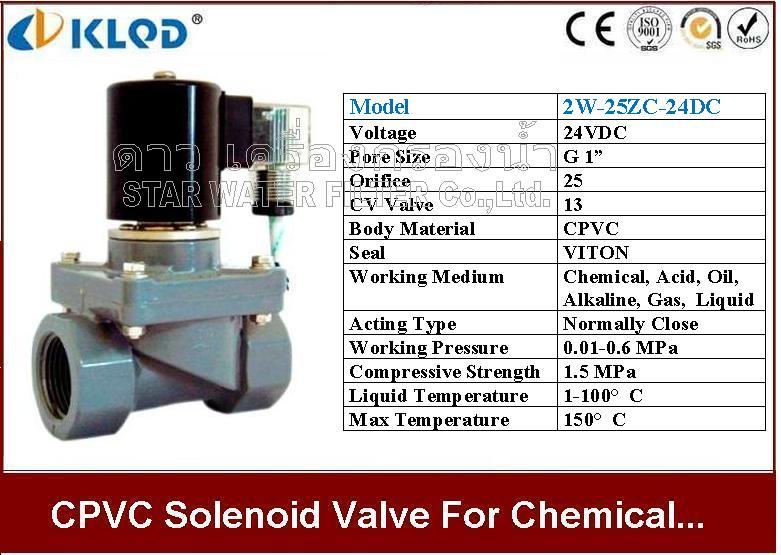 CPVC Solenoid valve ทนความร้อน และ สารเคมี 1 นิ้ว 24VDC KLOD