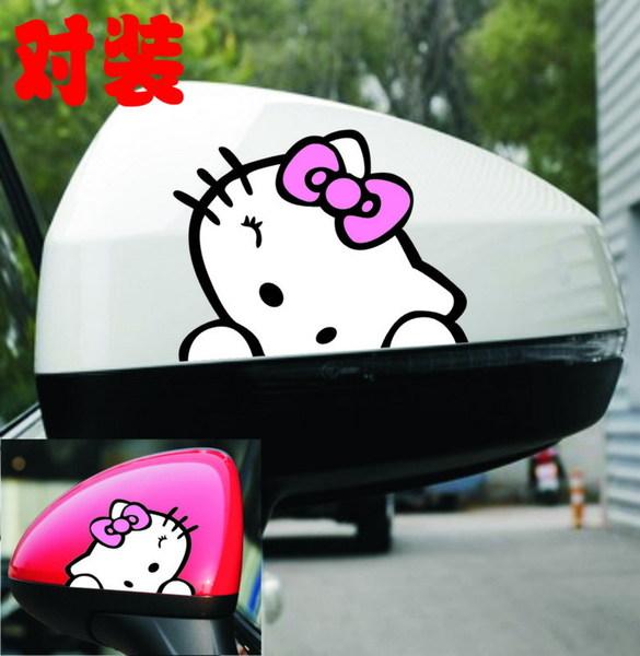 สติ๊กเกอร์ติดกระจกมองข้างรถยนต์ Hello Kitty โบว์ชมพู (7.5x5.5 CM) แพ็คคู่